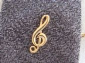Treble Clef Tie Tack in 9 Carat Gold - Italian made tie pin (SOLD)
